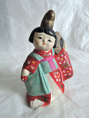 3.5 inch Japanese Antique Clay doll :Dancing Kimono Girl with Fun