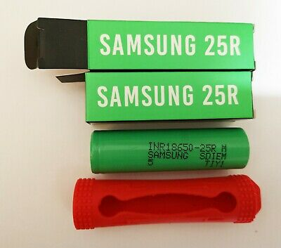 2 x Genuine Samsung INR 18650 25r 20A 3.7v 2500mAh Rechargeable Batteries