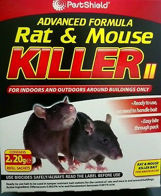 NEW 2 x 20g RAT MICE MOUSE RODENT PEST KILLER POISON BAIT INDOOR & OUTDOOR