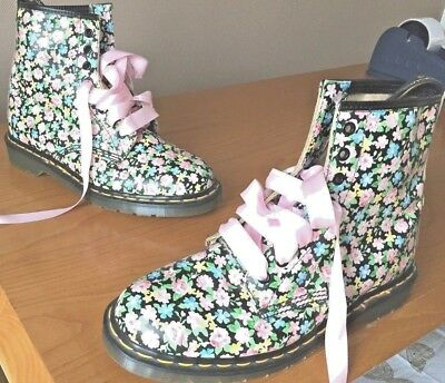 a5b12097aeb5 Vintage Dr Martens 1460 black pink yellow leather boots UK 8 EU 42 blue  green