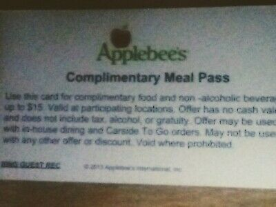 (10) Applebee's Meal Pass Vouchers NO EXPIRATION, free shipping