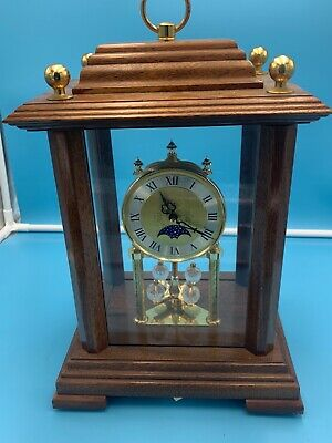 Vintage Wood Case Unmarked German Mantle Clock Quartz Anniversary Movement