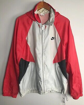 f332e7c6c7c4bb Vintage 80s 90s Nike Spellout Silver Tag Red Gray Black Hooded Windbreaker L