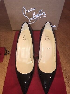 finest selection f5388 c8cc6 CHRISTIAN LOUBOUTIN BLACK DECOLLETE 554 70 Patent Pre-owned Size 40 With  Box/Bag
