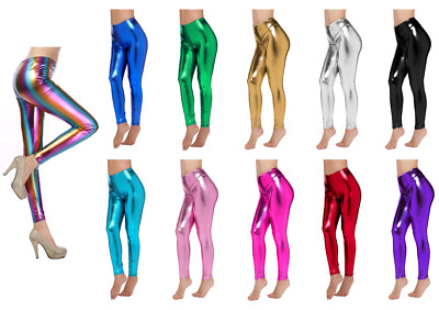 Metallic Leggings Stretchy Pants Neon Fluro Shiny Glossy Dress Up Dance Party