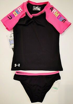 Under Armour Youth Girls Wordmark Rash Guard Top and Bottoms Swimsuit Set Black