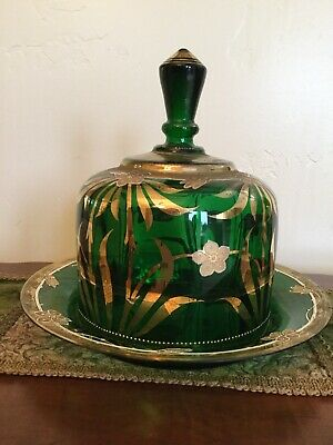 Antique Vintage Cheese Butter Keeper Glass Hand Painted Gilt Stunning