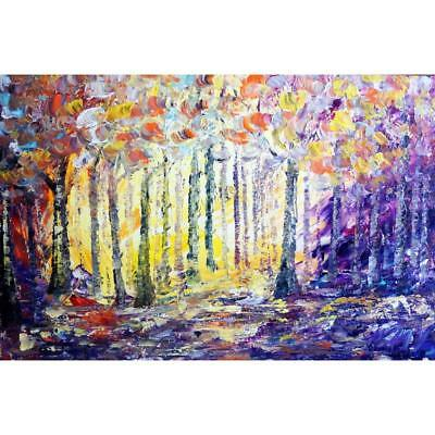 SPRING Landscape Purple VIOLET Yellow Spring Trees Oil Painting Impasto Textured