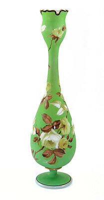 Mid 19th c. French opaline footed vase,  matte painting, crenulated rim [9159]