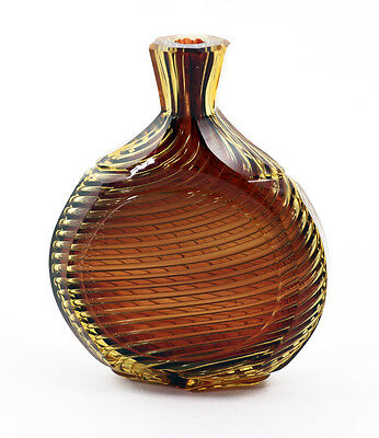 19th c. German two-color swirled airtrap cut glass laydown perfume [11105]