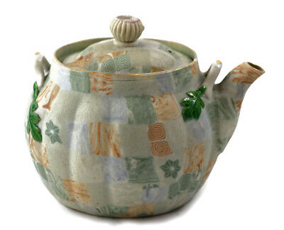 Early 20th c. Banko teapot, marbleized tapestry clay with enamel [11161]
