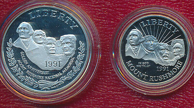 1991-S Mount Rushmore Two Coin Proof Commemorative Set **silver Dollar & Half**