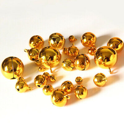 50pcs 8mm Gold Copper Metal Jingle Tinkle Bell Xmas Party Pendant DIY Crafts New