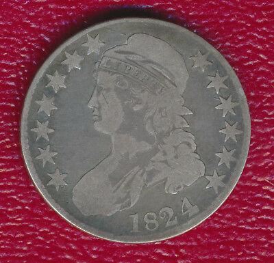 1824 Capped Bust Silver Half Dollar **Fantastic Toning** Free Shipping