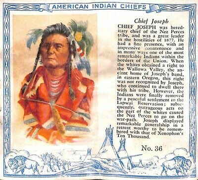1952 Red Man Chewing Tobacco American Indian Chiefs #36 Chief Joseph