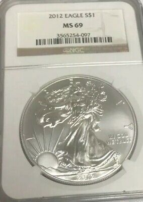 Silver American Eagle 2012 NGC Certified MS69 1oz. .999 Silver Dollar Coin