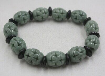 100% Natural A Grade Jade/Jadeite Black Circle Carved Cross Long Beads Bracelet