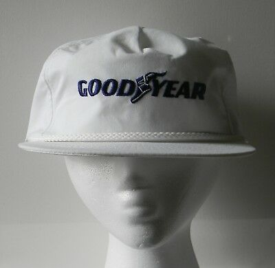 Vintage Goodyear Tires White W/ Blue Embroidered Logo Snapback Hat Cap