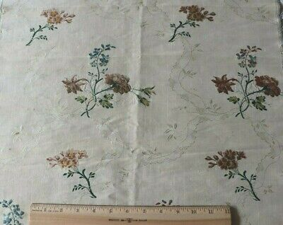 "Antique French 18thC Floral & Lace Silk Brocade Fabric Yardage c1760~38""X19"""