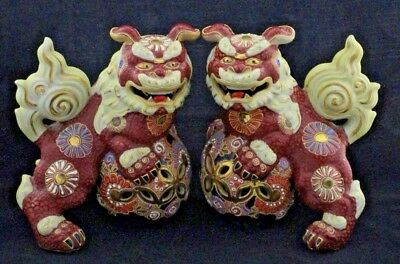 Pair of Vintage Authentic Large Kutani Foo Dogs or Shishi Dogs Made in Japan