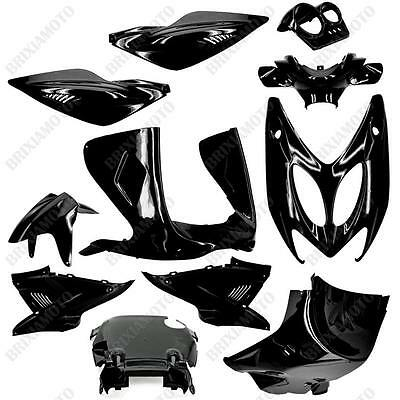 Set 11 Carenages Coques Noir Metal Yamaha 50 Aerox MBK Nitro ' 97'/12