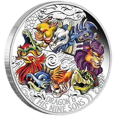 2015 ~5~Oz  Pure Silver ~ Proof ~ Dragon & His 9 Sons ~Colorized~Tuvalu~ $398.88