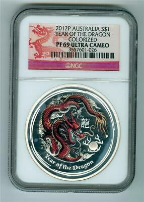 Australia 2012 $1 Year Of The Dragon Colorized 1 Oz. .999 Silver Ngc Pf-69 Ultra