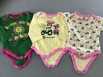 Lot Of 3 Girls John Deere Shirts, Size 12 Months.  Tractor, Farmer Grandma