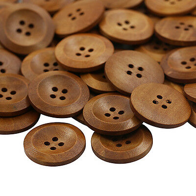 HK- 50 Pcs Wooden 4 Holes Round Wood Sewing Buttons DIY Craft Scrapbooking 25mm