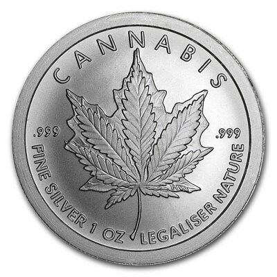 2018 ~ 1~Oz ~ Pure .999 Silver Round ~ Cannabis ~ Awesome ~$9.99 Auction ~No Res