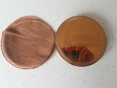 Vintage Gibraltar Brass Etched Powder Compact
