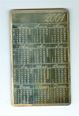2001 CALENDAR CARD 1 oz. .999+ FINE SILVER TONED 86mm x 54mm x 1mm. SCARCE TYPE
