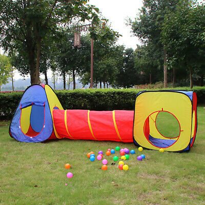 3pcs Childrens Kids Baby Pop-Up Play Tent And Tunnel Ball Pit Playhouse Playtent