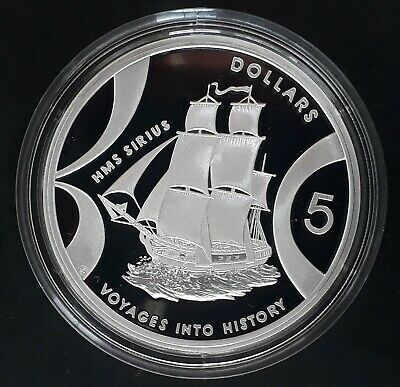 2002 Australia Voyages Into History Sirius 1oz Silver (.999) $5 Proof coin