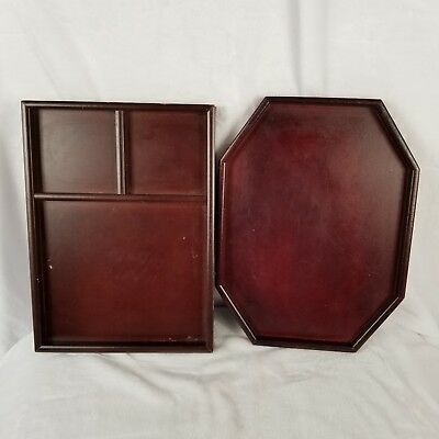 Vintage Real Red Wooden Serving Tea Food Trays Home Meal Decor Bed Tray Spring