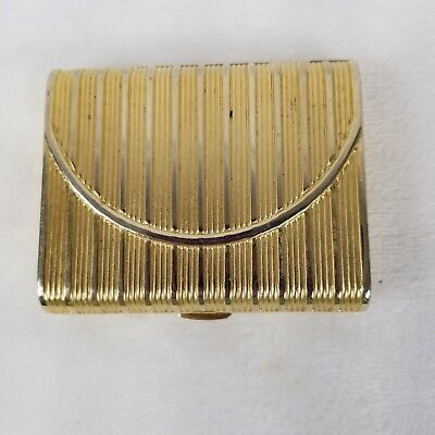 Vintage Gold Metal Estee Lauder Powder Compact Square Ribbed Mirrored Purse Shap