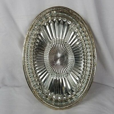 Leonard Silver plate Oval Serving Tray With 5 Divided Sections Glass Insert