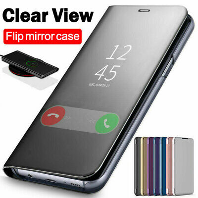 new product c1ad9 263a9 FOR HUAWEI P Smart 2019/P30 Pro Clear View Mirror Leather Flip Stand Case  Cover