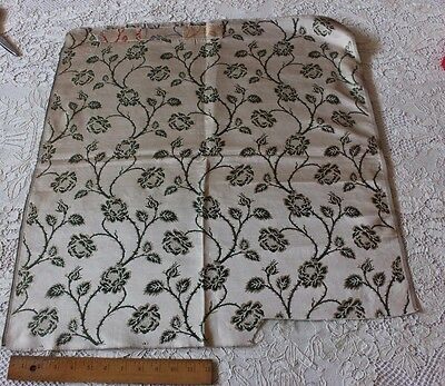 "Antique 19thC French Lyon Silk Woven Sample Fabric~L-27""X  W-25""~Green Rose Vine"