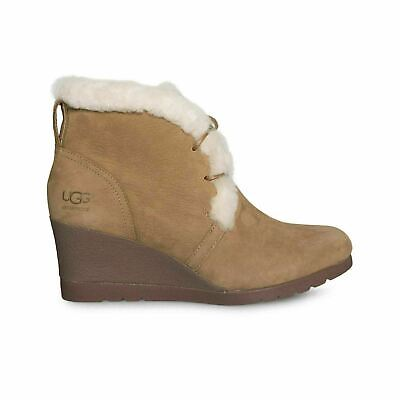 9ad9a98ba84 UGG JEOVANA CHESTNUT Suede Waterproof Wedge Lace Women's Boots Size Us 9.5  New