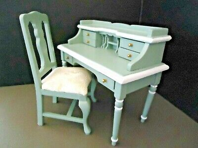 Town Square Dollhouse Miniature Green & White Wood Desk Chair Set T5992 T5993