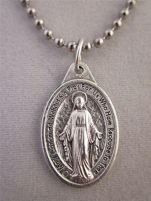 "Catholic Italian Miraculous Medal Pendant Necklace 24"" Ball Chain + BONUS BOOK"