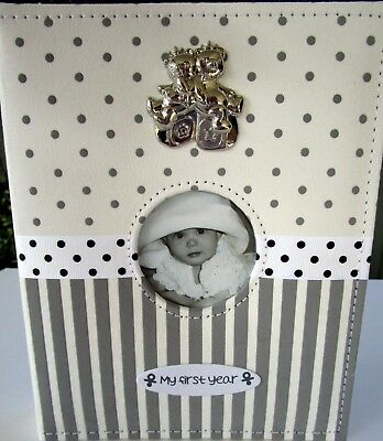 Baby Keepsake Photo Album With Silver Bears, Ribbon & Velvet Stripes & Spots! Bn