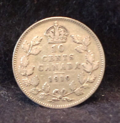 1919 Canada (Dominion) silver 10 cents, George V, pleasant toning, KM-23 (CA19C)