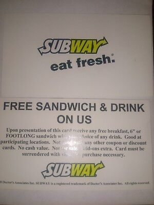 10 subway sandwich and drink cards