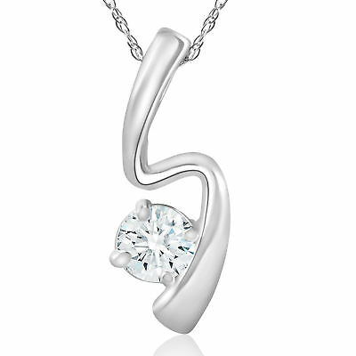 1/2 Ct Solitaire Round Cut Diamond 14K White Gold Over Pendant Charm Jewelry