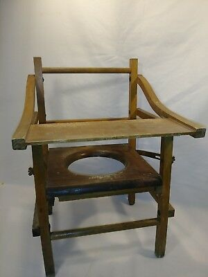 Vintage Child Baby Toddler Wood Potty Chair Booster Flip Up Seat w/ Tray foldabl