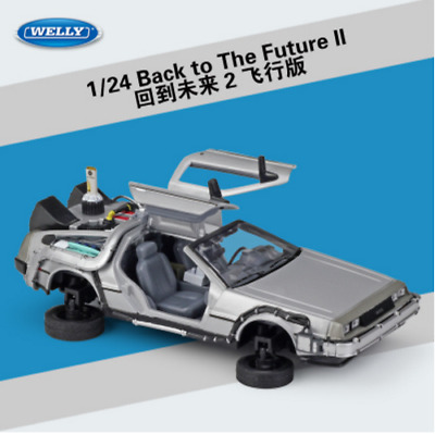 Welly 1:24 Back to the Future 2 Delorean Fly Mode Metal Model Car Silver