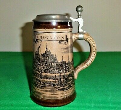 Vintage GERMAN LIDDED BEER STEIN - COLONIA COLN - 17cm Great Condition