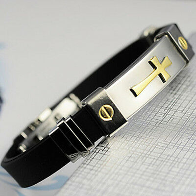 HK- Women Men Cross Stainless Steel Silicone Buckle Bracelets Bangle Wristband M